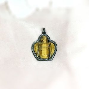 Tiger Eye & Diamond Oxidised Silver Buddha Pendant